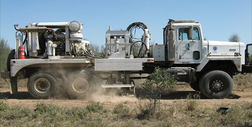 Picture of a vibrosesis truck in action